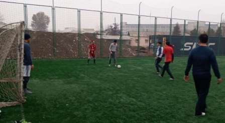 Employees of Andijan State Medical Institute at a mini-football tournament